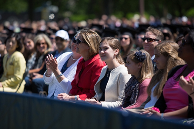 Families of graduates watching Commencement
