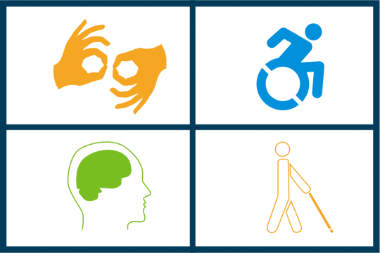 Icons representing sign language, wheelchair, cognitive impairments and person using walking stick
