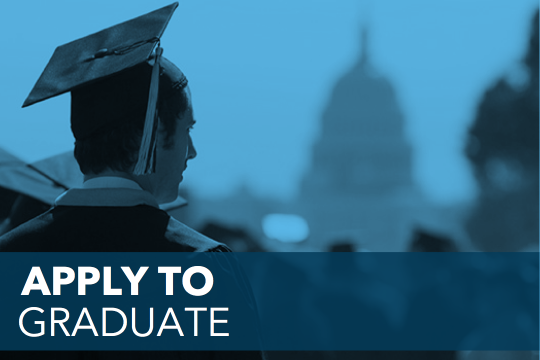 Apply to graduate text over image of grad looking at Capitol.