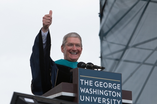 Tim Cook giving his Commencement address