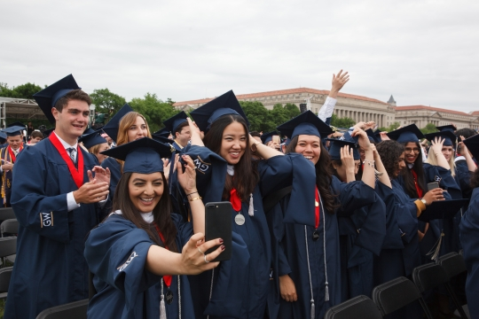 Happy graduates at the 2017 GW Commencement