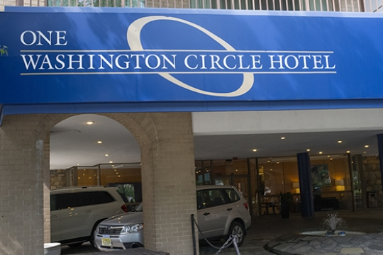 Front of One Washington Circle, an official GW Hotel