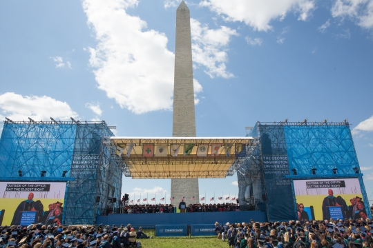 A view of the stage at Commencement on the National Mall