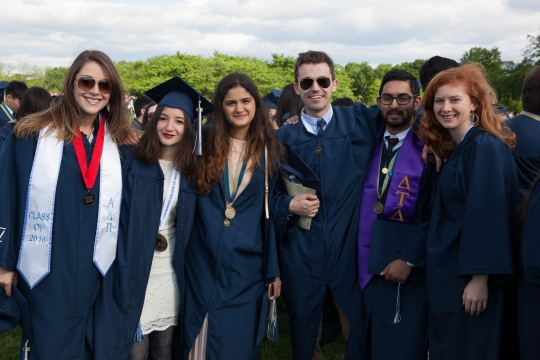 A group of graduates at Commencement on the National Mall