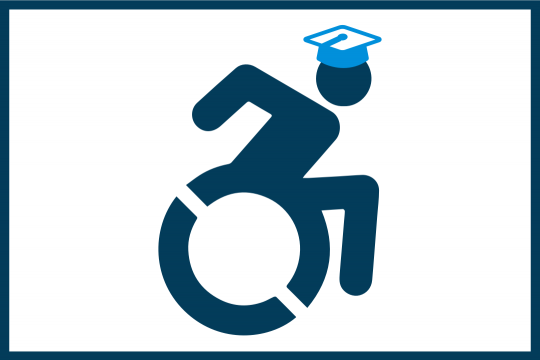Icon of a wheelchair user with a graduation cap