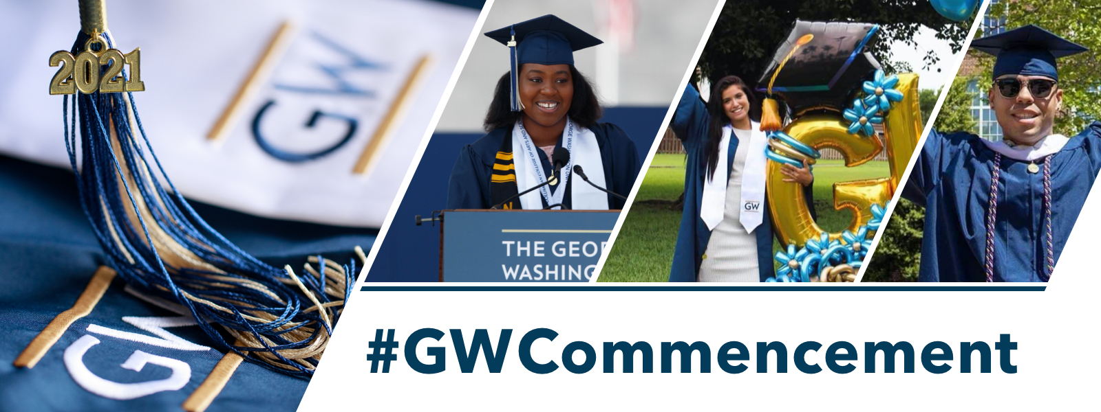#GWCommencement; happy groups of graduates in regalia