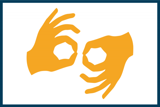 graphical presentation of hands speaking in sign language