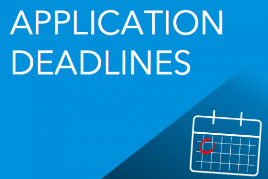 Application Deadlines; graphical presentation of calendar with date circled