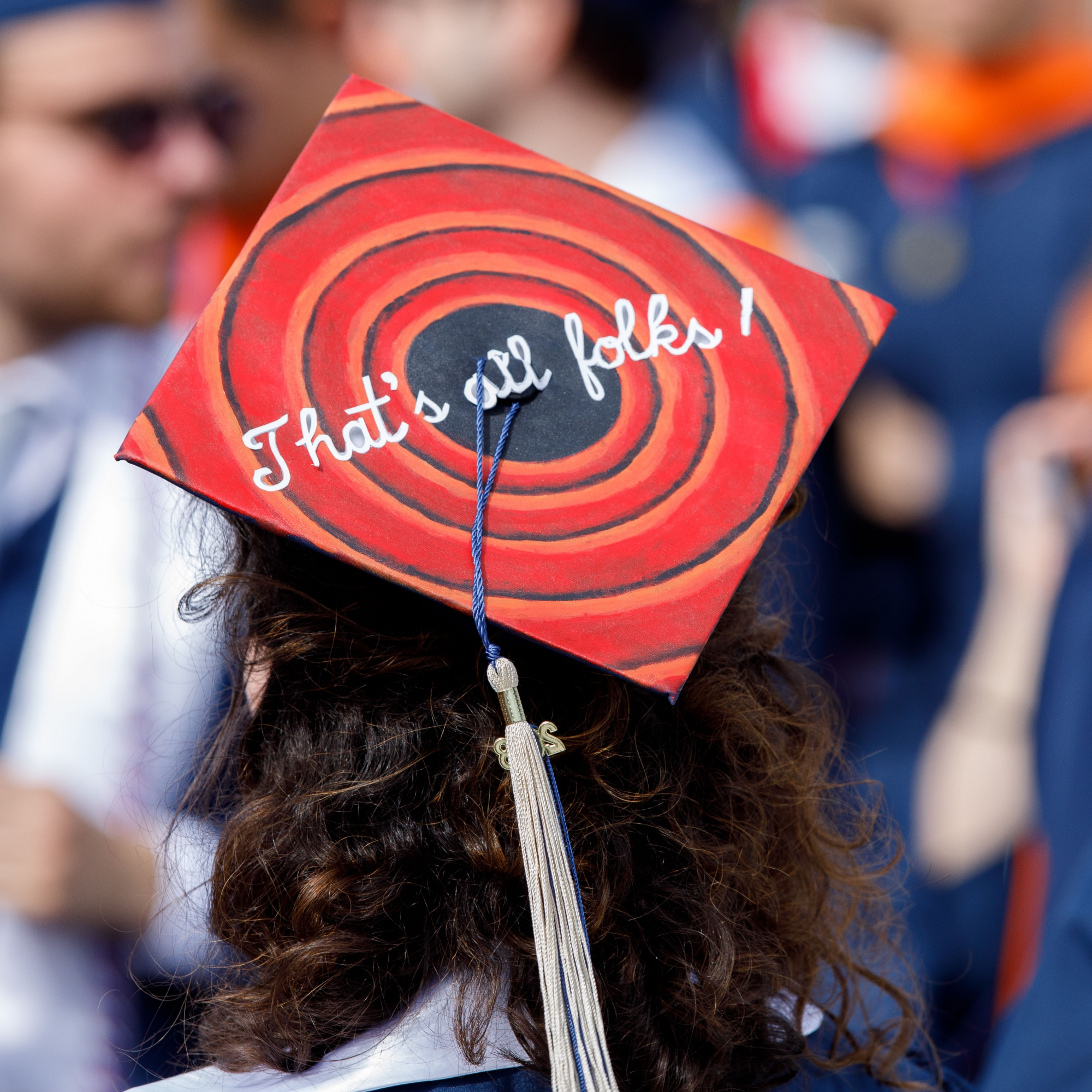 "A decorated cap that says ""That's All Folks"" like the Loony Tunes cartoons"