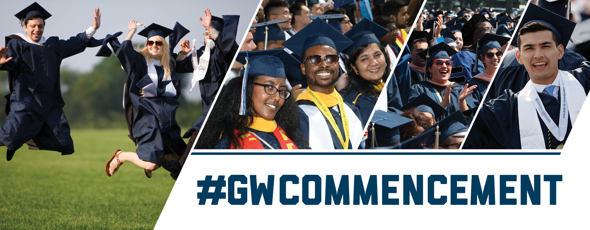 #GWCommencement; happy groups of graduates in regalia celebrating on the National Mall