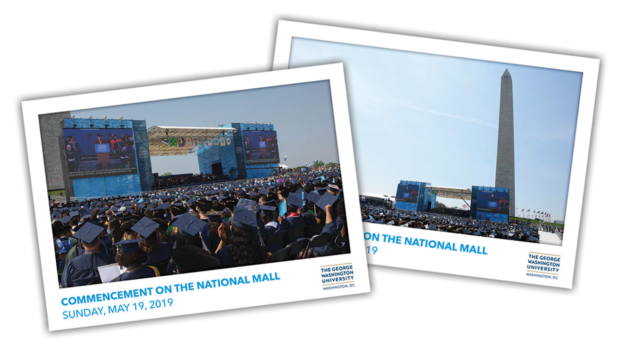 Two versions of 2019 Commencement on the National Mall commemorative ticket
