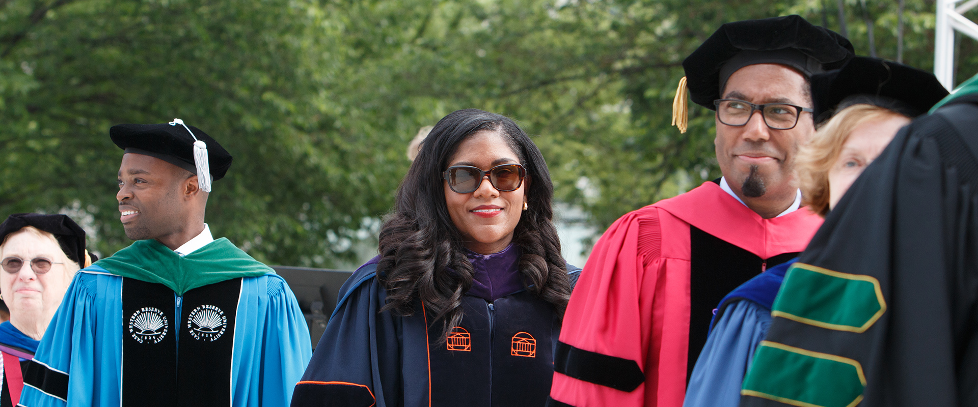 GW staff in academic dress during 2018 Commencement ceremony