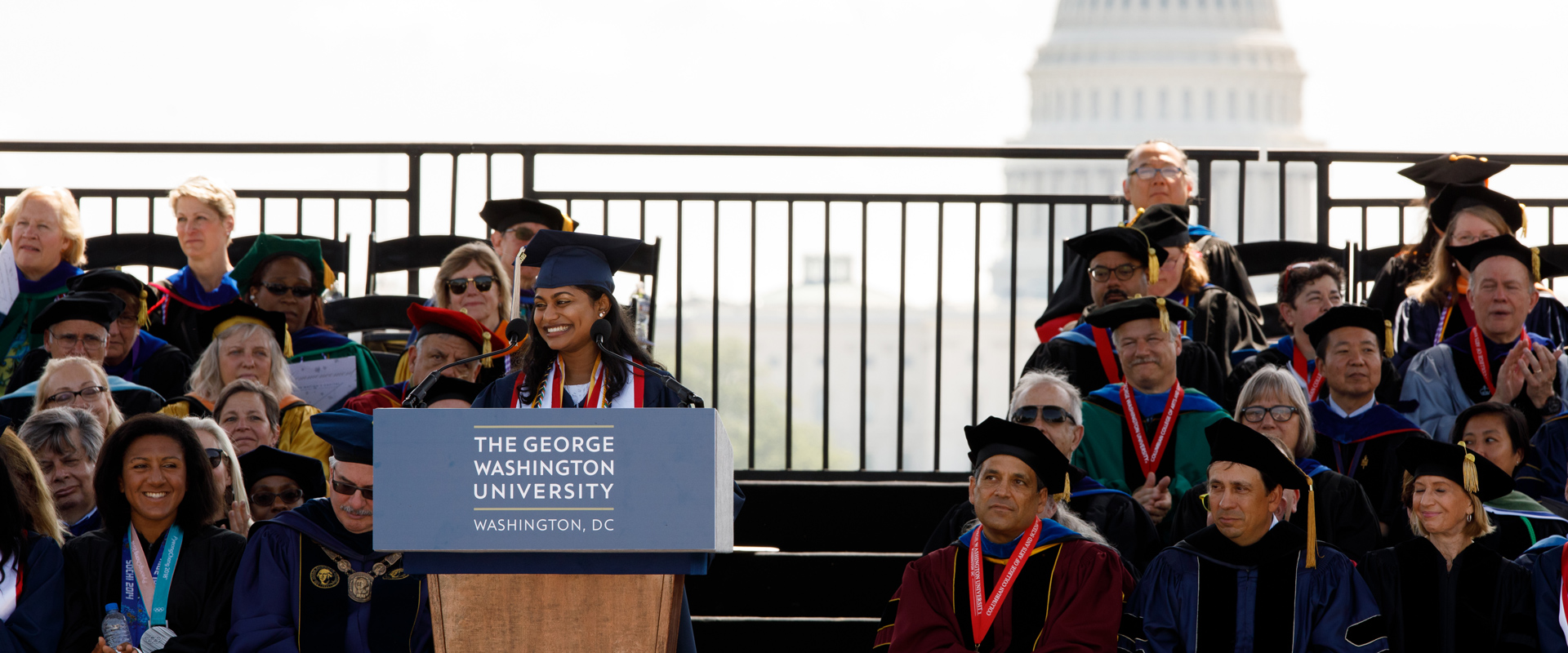 Meenu Mathews delivering an address during 2018 Commencement ceremony