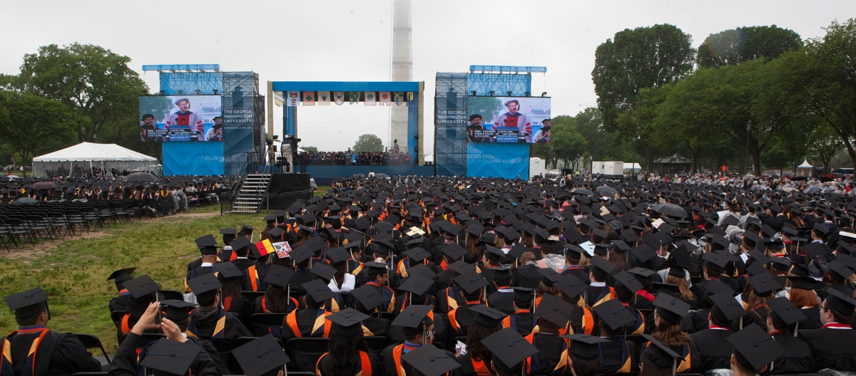 Commencement ceremony during rainy weather