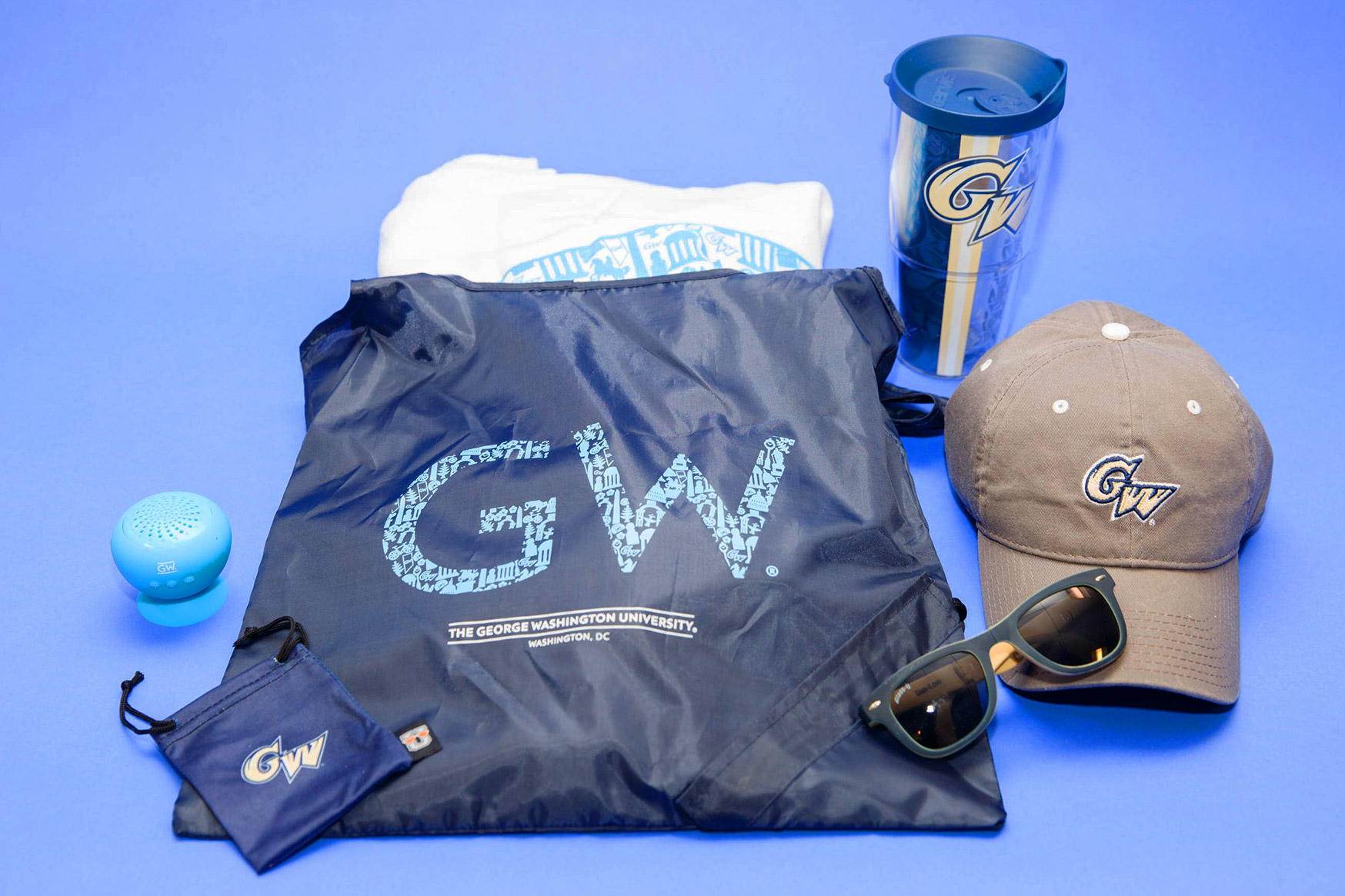 Prizes include a GW beach towel, portable speaker, water bottle and sunglasses