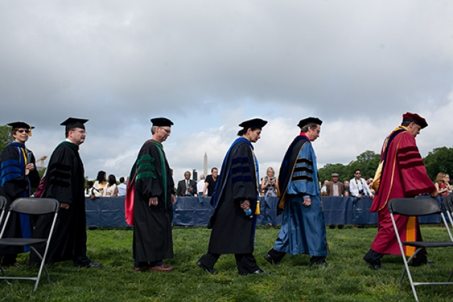 Group of faculty processing in to the ceremony