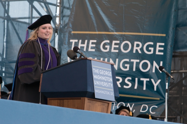 Julia Haigney delivering her 2016 Commencement Speech
