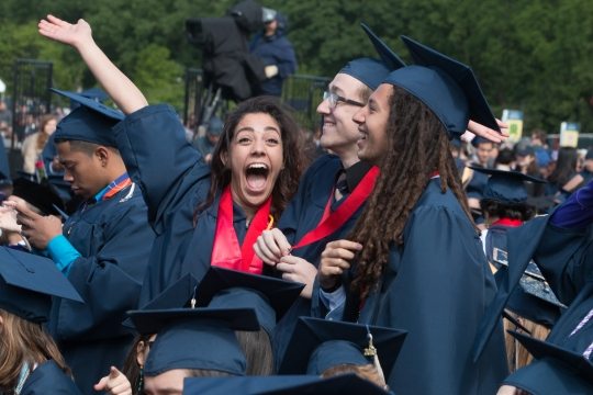 Students cheering at Commencement on the National Mall