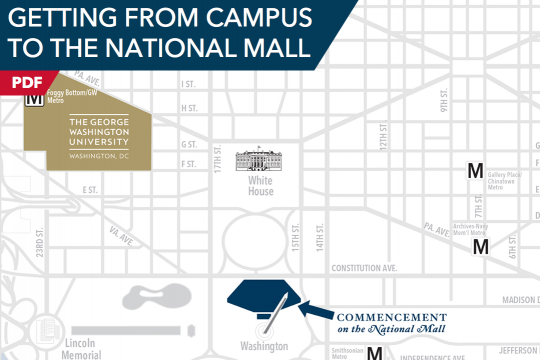 Getting from Campus to the National Mall PDF on map of city