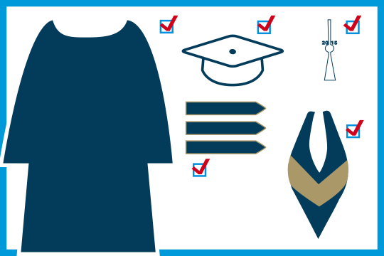 Graphic depicting academic dress including a gown, cap, hood, tassel and band.